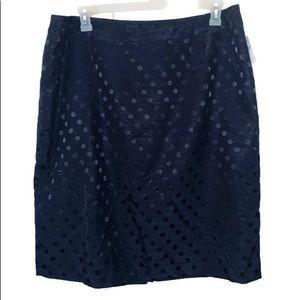 NWT Tahari Womens Pencil Skirt Size 16W Navy Polka